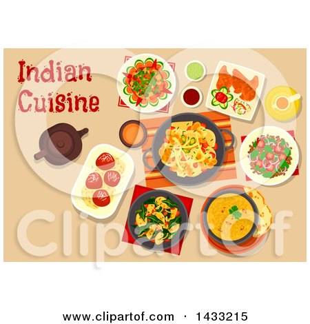 Clipart of a Table Set with Indian Cuisine, with Text - Royalty Free Vector Illustration by Vector Tradition SM