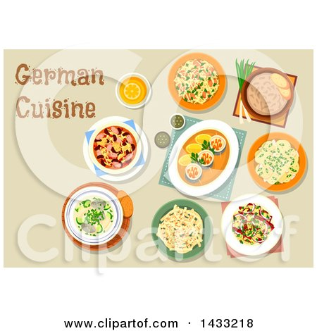 Clipart of a Table Set with German Cuisine, with Text - Royalty Free Vector Illustration by Vector Tradition SM