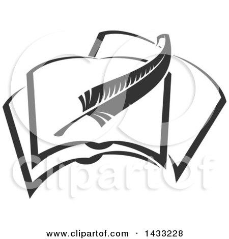 Clipart of a Grayscale Feather Quill Writing in a Book - Royalty Free Vector Illustration by Vector Tradition SM