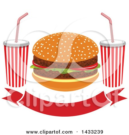 Clipart of a Hamburger and Fountain Sodas over a Banner - Royalty Free Vector Illustration by Vector Tradition SM
