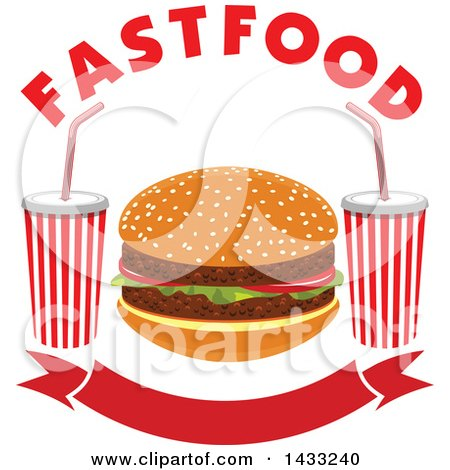Clipart of a Hamburger with Text and Fountain Sodas over a Banner - Royalty Free Vector Illustration by Vector Tradition SM