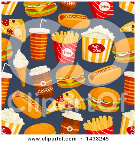 Clipart of a Seamless Background of Fast Foods - Royalty Free Vector Illustration by Vector Tradition SM