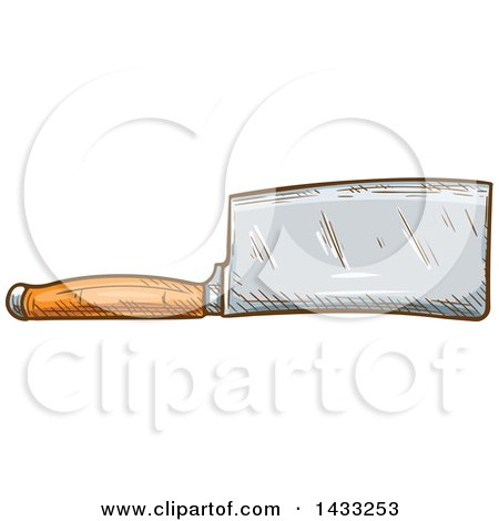 Clipart of a Sketched Cleaver Knife - Royalty Free Vector Illustration by Vector Tradition SM