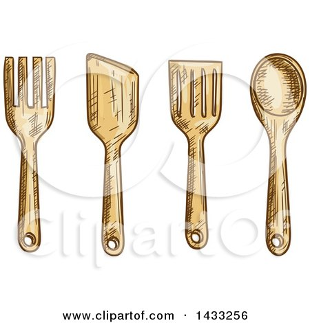 Clipart of a Sketched Cooking Utensils - Royalty Free Vector Illustration by Vector Tradition SM
