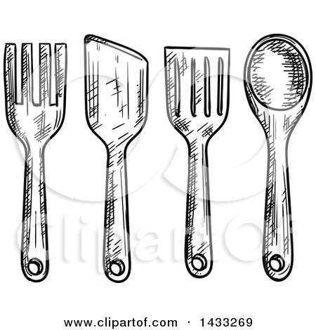 Clipart Of Black And White Silhouetted Kitchen Utensils Royalty