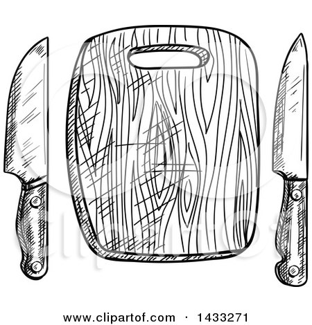 Clipart of a Sketched Black and White Cutting Board and Knives - Royalty Free Vector Illustration by Vector Tradition SM
