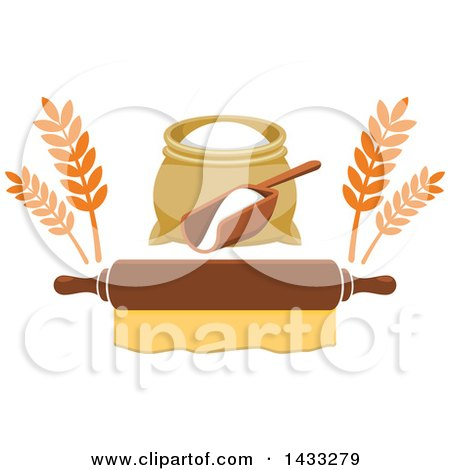 Clipart of a Flour Sack and Scoop with Wheat over a Rolling Pin - Royalty Free Vector Illustration by Vector Tradition SM