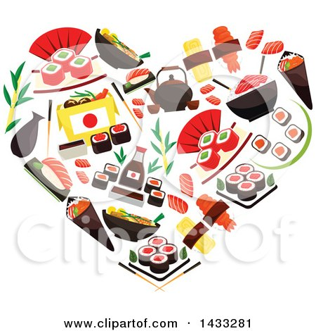 Clipart of a Heart Made of Sushi Rolls, Sashimi, Steamed Sticky Rice, Red Caviar, Ginger, Soy Sauce - Royalty Free Vector Illustration by Vector Tradition SM