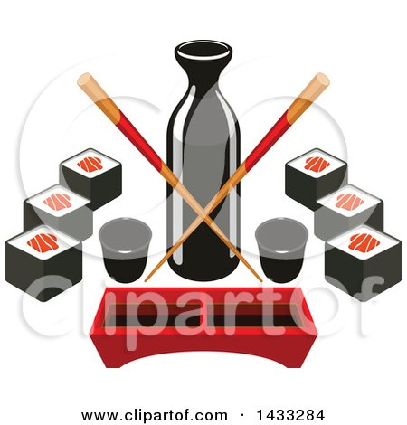 Clipart of a Soy Sauce Bottle with Crossed Copysticks, Dip Tray and Sushi - Royalty Free Vector Illustration by Vector Tradition SM