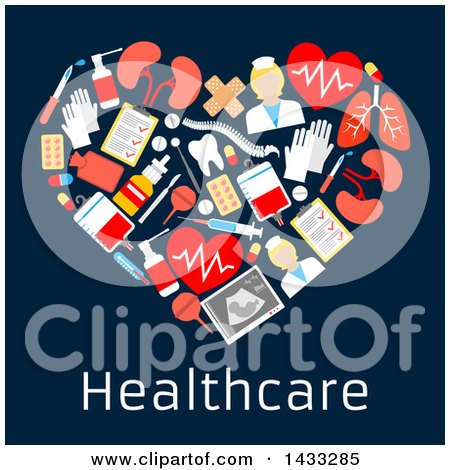 Clipart of a Heart Formed of Flat Style Medical Icons, with Text on Dark Blue - Royalty Free Vector Illustration by Vector Tradition SM