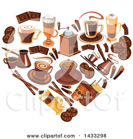 Clipart of a Heart Formed of Coffee - Royalty Free Vector Illustration by Vector Tradition SM