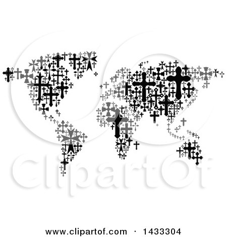 Clipart of a Black and White World Map Formed of Crosses - Royalty Free Vector Illustration by Vector Tradition SM
