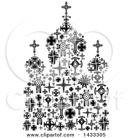 Clipart of a Black and White Church Formed of Crosses - Royalty Free Vector Illustration by Vector Tradition SM
