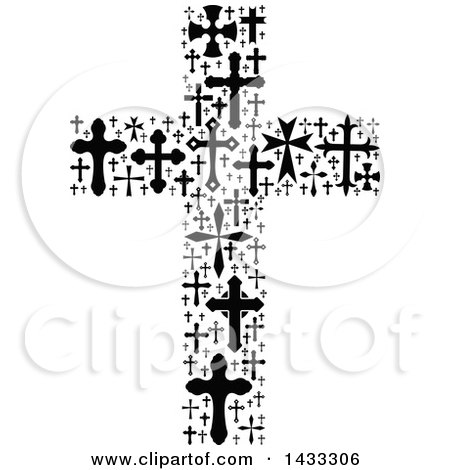 Clipart of a Black and White Crucifix Formed of Crosses - Royalty Free Vector Illustration by Vector Tradition SM