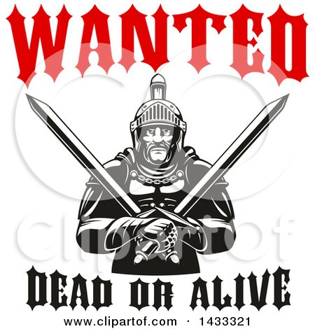 Clipart of a Wanted Dead or Alive Design with a Black and White Tough Gladiator Warrior Holding Crossed Axes - Royalty Free Vector Illustration by Vector Tradition SM