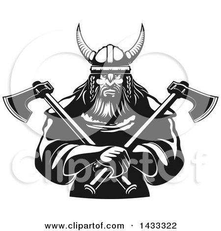Clipart of a Black and White Tough Viking Warrior Holding Crossed Axes - Royalty Free Vector Illustration by Vector Tradition SM