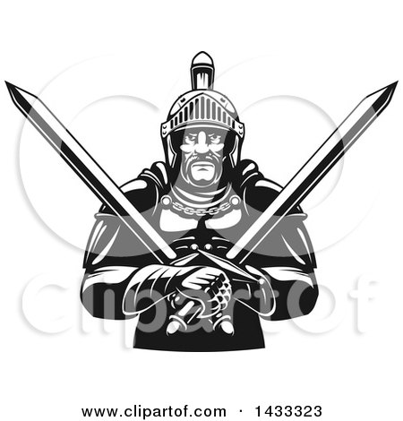 Clipart of a Black and White Tough Gladiator Warrior Holding Crossed Swords - Royalty Free Vector Illustration by Vector Tradition SM