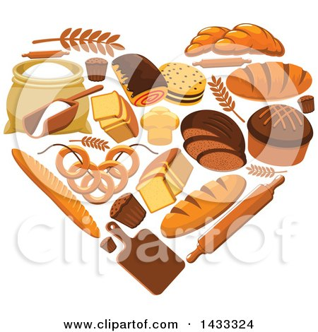 Clipart of a Heart Made of Bakery Goods - Royalty Free Vector Illustration by Vector Tradition SM