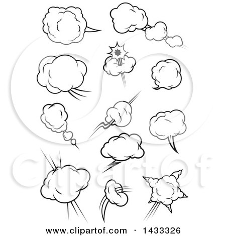 Clipart of Black and White Comic Design Element Bursts - Royalty Free Vector Illustration by Vector Tradition SM