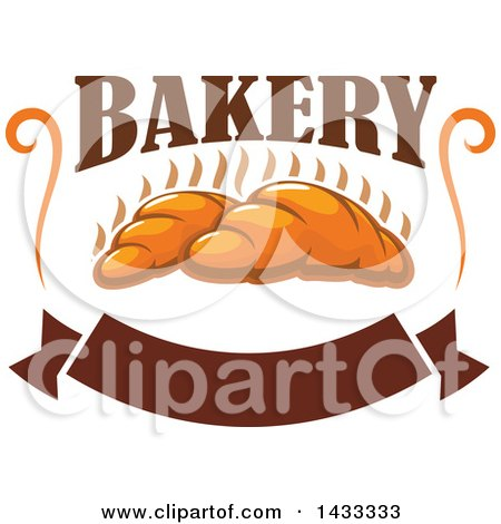 Clipart of a Design of Hot Croissants with Bakery Text and a Blank Banner - Royalty Free Vector Illustration by Vector Tradition SM