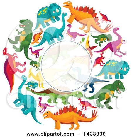Clipart of a Blank Semi Transparent Label Frame over a Circle of Dinosaurs - Royalty Free Vector Illustration by Vector Tradition SM