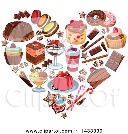 Clipart of a Heart Formed of Desserts - Royalty Free Vector Illustration by Vector Tradition SM