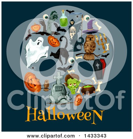 Clipart of Halloween Icons over Text on Dark Blue - Royalty Free Vector Illustration by Vector Tradition SM