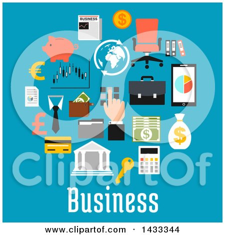 Clipart of Flat Style Business Icons and Text on Blue - Royalty Free Vector Illustration by Vector Tradition SM