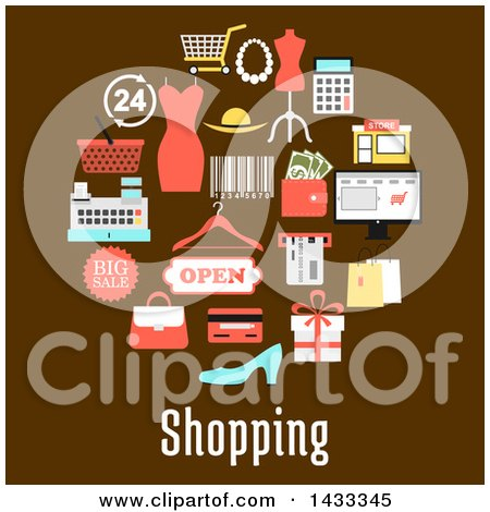 Clipart of a Circle of Flat Styld Retail Icons over Shopping Text on Brown - Royalty Free Vector Illustration by Vector Tradition SM