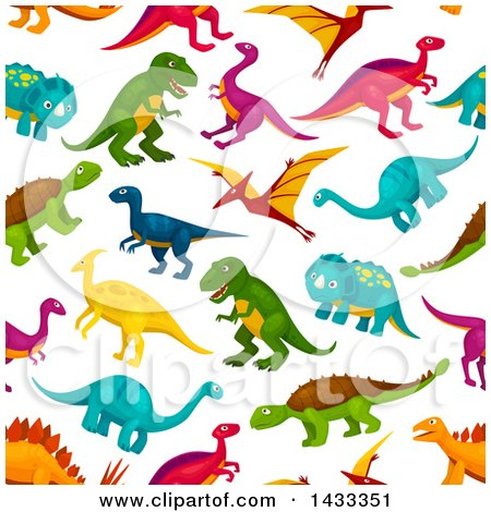 Clipart of a Seamless Pattern Background of Dinosaurs - Royalty Free Vector Illustration by Vector Tradition SM