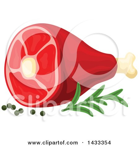Clipart of a Chunk of Meat with Herbs - Royalty Free Vector Illustration by Vector Tradition SM