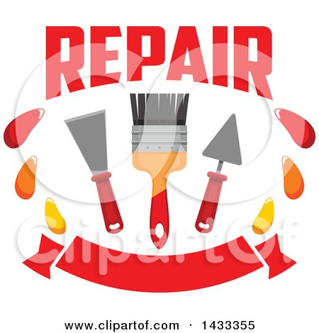 Clipart of a Repair Design with a Paintbrush and Plaster Spatulas over a Banner - Royalty Free Vector Illustration by Vector Tradition SM