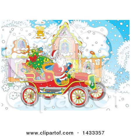 Clipart of a Christmas Scene of Santa Claus Driving an Antique Car in Front of a House - Royalty Free Vector Illustration by Alex Bannykh