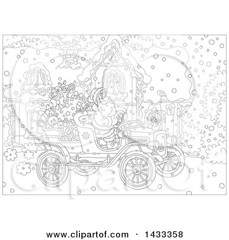 Clipart of a Black and White Lineart Christmas Scene of Santa Claus Driving an Antique Car in Front of a House - Royalty Free Vector Illustration by Alex Bannykh