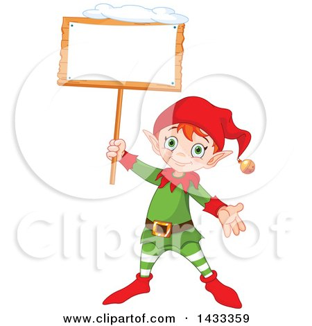 Clipart of a Happy Christmas Elf Holding up a Blank Sign - Royalty Free Vector Illustration by Pushkin