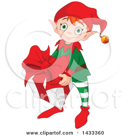 Clipart of a Happy Christmas Elf Holding a Present - Royalty Free Vector Illustration by Pushkin