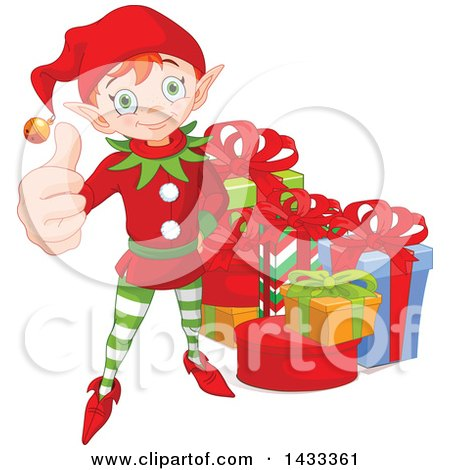 Clipart of a Happy Christmas Elf Giving a Thumb up by Gifts - Royalty Free Vector Illustration by Pushkin