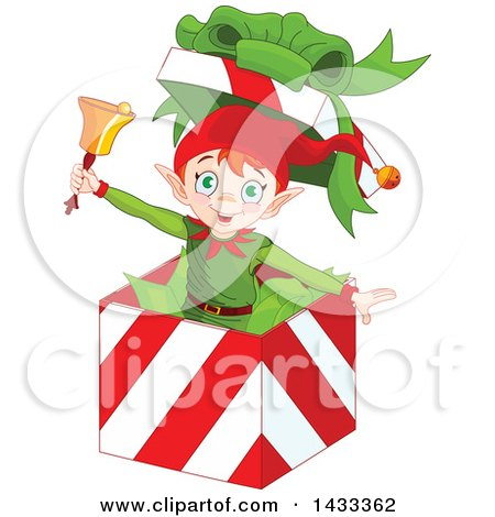 Clipart of a Happy Christmas Elf Ringing a Bell and Popping out of a Gift Box - Royalty Free Vector Illustration by Pushkin