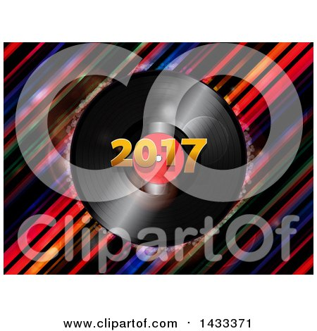 Clipart of a 3d Music Vinyl Record Album with 2017 over Diagonal Stripes - Royalty Free Vector Illustration by elaineitalia
