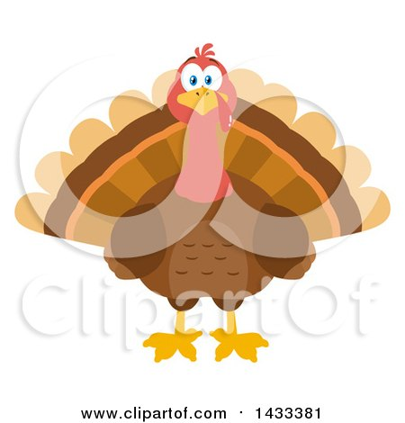 Clipart of a Flat Design Styled Turkey Bird - Royalty Free Vector Illustration by Hit Toon
