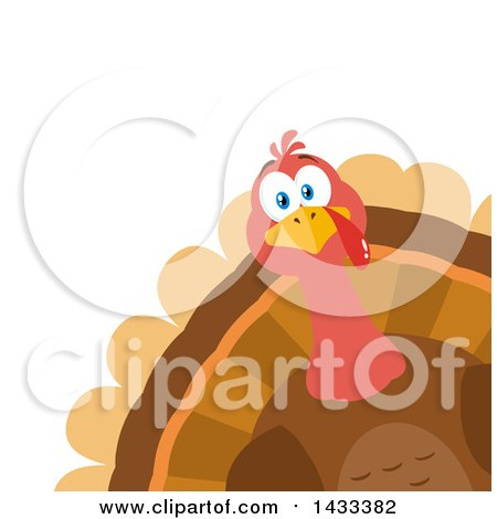 Clipart of a Flat Design Styled Turkey Bird Peeking from a Corner - Royalty Free Vector Illustration by Hit Toon