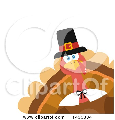 Clipart of a Flat Design Styled Pilgrim Turkey Bird Peeking from a Corner - Royalty Free Vector Illustration by Hit Toon