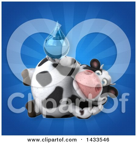 Clipart of a 3d Chubby Cow Holding a Water Drop - Royalty Free Illustration by Julos