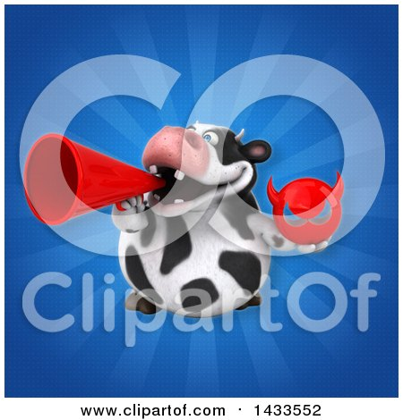 Clipart of a 3d Chubby Cow Holding a Devil Head - Royalty Free Illustration by Julos