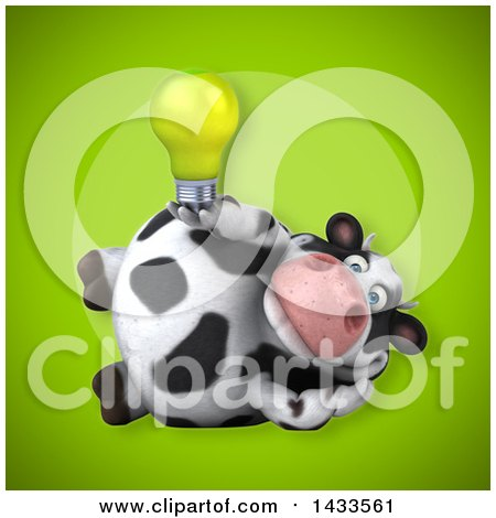 Clipart of a 3d Chubby Cow Holding a Light Bulb - Royalty Free Illustration by Julos