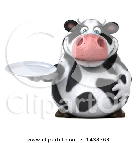 Clipart of a 3d Chubby Cow Holding a Plate, on a White Background - Royalty Free Illustration by Julos