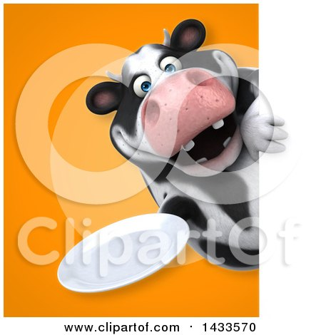 Clipart of a 3d Chubby Cow Holding a Plate - Royalty Free Illustration by Julos