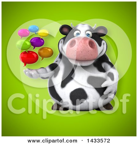 Clipart of a 3d Chubby Cow with Speech Bubbles - Royalty Free Illustration by Julos