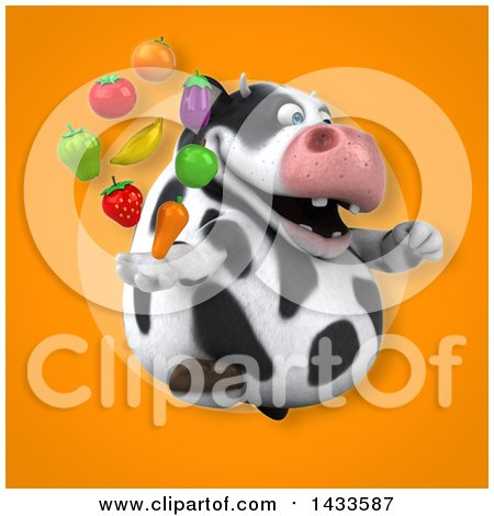 Clipart of a 3d Chubby Cow with Produce - Royalty Free Illustration by Julos