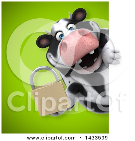 Clipart of a 3d Chubby Cow Holding a Padlock - Royalty Free Illustration by Julos
